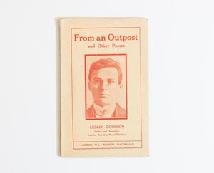 A paper book cover, framed by an orange line. The title is at the top in bold letters, under it a portrait of a young man.