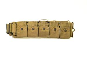 Thick army belt with five pockets, each with a button on it.