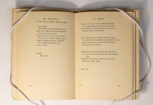 An open book, the page on the left containing a small poem titled Sic Transit at the top. The page on the right containing another poem titled To Them. The bottom section of both pages is blank.