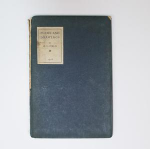 A dark blue book cover. On the top left of the page is a white box, with the title and author on it.
