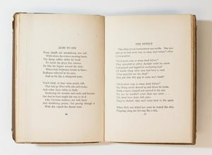 Open book, the left page containing a poem title How To Die, the page on the right containing a poem titled The Effect.