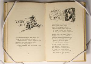 An open book, the page on the left has the words Carry On in quotes, next to a drawing of a soldier. Under it is a bit of text. The right page is the title Myers And Miners, a drawing of a man going through an entrance next to it. Under that are three paragraphs of text.