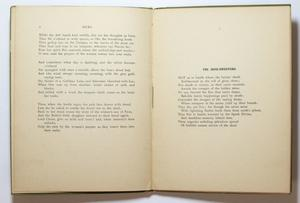 Open book, the page on the left containing three paragraphs titled Socks at the top. The right page has a short section of text, titled The Mine Sweepers.