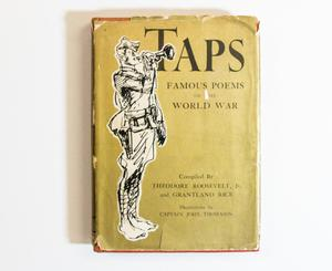 A yellow book cover, the title at the top in black letters. The left side of the page is a white and black drawing of a soldier holding a horn.