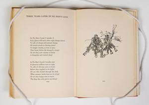 The page on the left is titled at the top, a poem consisting of two stanzas under it. The page on the right has a drawing of two people sitting next to each other.