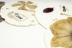 Three white paper circles. There are dried flowers on them. One is titled Time, another Cycle.