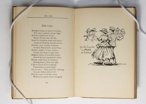 An open book, the page on the left is a poem titled The Call, a page on the right is a drawing of a woman in a big dress next to a man in an army uniform.