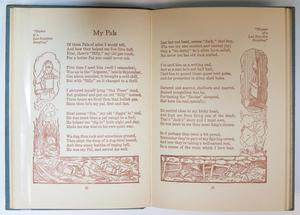 Two pages of a book are seen, the one on the left titled My Pals, the text under it and continued on the right page. Along the edge of the left side, along the bottom and along the right side is an extended illustration.