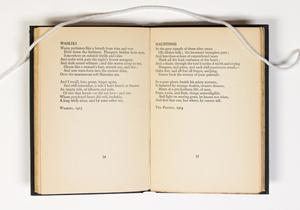 An open book, the page on the left containing a poem titled Waikiki, the page on the right containing a poem titled Hauntings.