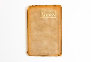 An orange brown book with worn edges. The top right of it has a golden framed rectangle, with the title in it in gold letters.