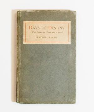 A worn green book cover. The top of it contains a white banner, with the title in it. The first letter of the title has an ornage letter.