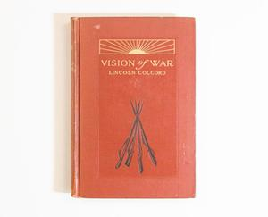 A red orange book cover, a banner with gold indention made to look like sunrays at the top. Under it is the title also in gold. The bottom half of the cover has black lines that sort of look like a teepee.