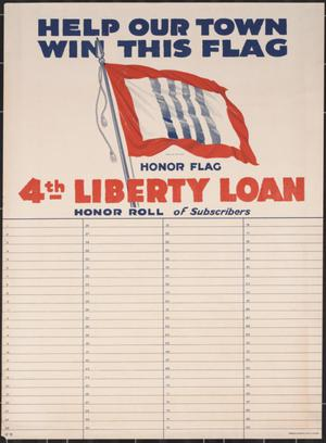 White poster, the top of it says Help Our Town Win This Flag in dark blue. The bottom half of it has four numbered columns. It also has a flag on it.