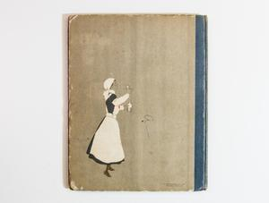 The back of a book cover with a blue spine. An illustration of a woman in a white bonnet and hat, seen from her right side.