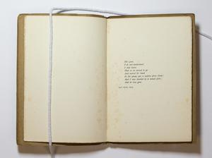 An open book, the page on the left is blank, and the page on the right containing a poem.