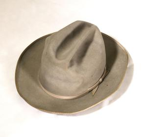 A light brown cowboy hat. Around the rim is a ribbon, the same color as the hat.