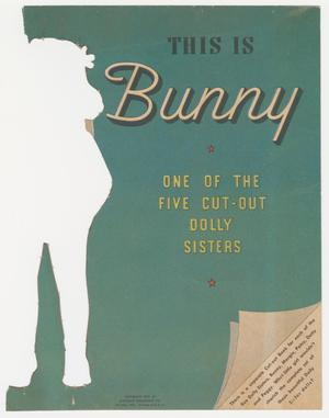 A piece of paper, that is a teal color with the shape of a girl removed from it on the left edge. The title is large and centered on the remaining paper, with the bottom right corner having a design that looks like the corner of the paper is folded back with text in a white triangle at the corner. The page is discolored and faded in areas.
