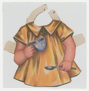 A cut out of a torso wearing a short yellow dress with a collar, and black trim around the edge of the collar and the sleeves. Arms come out of the sleeves, and the right hand holds a spoon while the left holds a tea cup. White rectangular flaps come off the sides of each arm and at the top of the collar, on either side of where a neck should be.