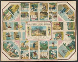 A board game board with many creases, with sections showing various people dressed in clothing from various socioeconomic levels from the mid-eighteenth century, and various buildings and farm animals.
