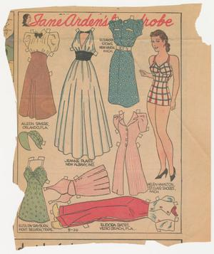 A piece of newspaper with jagged cut edges. The page shows an outlined section with the title Jane Arden's Wardrobe in red cursive letting. To the far right of the page is a woman with brown hair wearing a full slip with red and green stripes. To her left there are illustrations of various type of clothing such as a white ball gown, a green swimsuit and bonnet, and a blue dress with white dots. Each outfit has small white tabs sticking out from various places around the edges, and they each have a small line of text that states a person's name and a city and state.