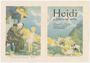 A long sheet of paper with a fold down the middle, featuring two color illustrations on either side. On the left side is an illustration of an old man sitting outside of a house with mountains in the background. He hold the hand of a young blonde girl who faces him. On the right side is an illustration with the book title and author/illustrator information below in black text. The illustration shows an young boy and woman climbing up a hill with two goats, and mountains in the background.