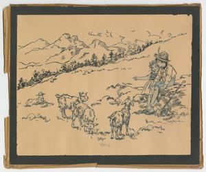 A black and white line drawing on yellowed paper, with a black border. There is a mountain range in the left background, with a girl and boy sitting on a rock in the right foreground, looking and pointing at goats standing to the left foreground.