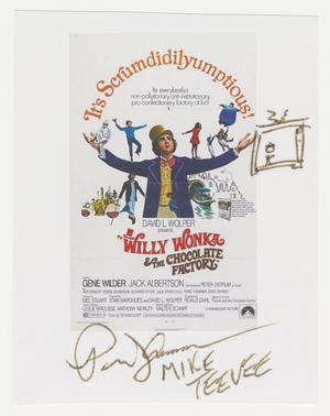 A small white piece of paper with the promotional image for the film Willy Wonka and the Choclate Factory, showing a man in purple suite jacket and yellow top hat with arms wide, and small images of children, oompa loompas, and a ferry boat around him. The words It's Scrumdidilyumptions! arch above him from hand to hand. The film information is below. Beneeth the image is a signature in black ink, and next to the image is an ink drawing of a television with a human stick figure on the screen.