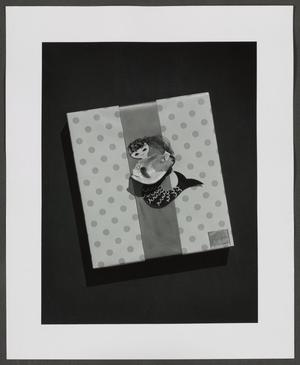 Black and white photograph of a package wrapped in polka dot paper, with a ribbon going down the center, and a paper mermaid at the center. The mermaid holds a large fish made from a shiny shell. A label in the bottom right corner reads Neiman Marcus.