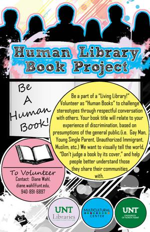 Flyer for Human Library Book Project, with silhouettes of people along the top, and text describing being a book.