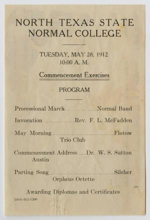 Primary view of object titled '[Commencement Program for North Texas State Normal College, May 28, 1912]'.