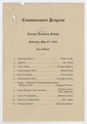 Primary view of object titled '[Commencement Program for Normal College Training School, May 27, 1922]'.