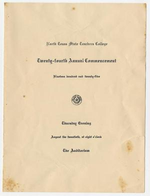 Primary view of object titled '[Commencement Program for North Texas State Teachers College, August 20, 1925]'.