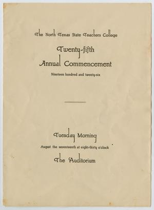 Primary view of object titled '[Commencement Program for North Texas State Teachers College, August 17, 1926]'.