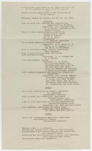 Primary view of object titled '[Commencement Events Program for North Texas State Teachers College, May 1927]'.
