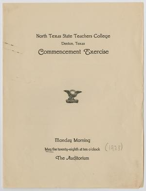 Primary view of object titled '[Commencement Program for North Texas State Teachers College, May 28, 1928]'.