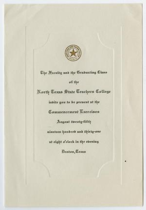 Primary view of object titled '[Commencement Invitation for the North Texas State Teachers College, August 25, 1931]'.