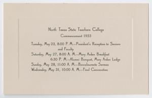 Primary view of object titled '[Commencement Event Program for North Texas State Teachers College, May 1933]'.