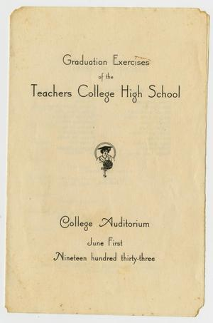 Primary view of object titled '[Graduation Exercises for the Teachers College High School, June 1, 1933]'.