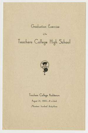 Primary view of object titled '[Graduation Exercise Program for the Texas College High School, August 21, 1933]'.