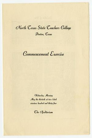 Primary view of object titled '[Commencement Program for the North Texas State Teachers College, May 30, 1934]'.
