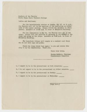 Primary view of object titled '[Commencement Program Faculty RSVP Slip for North Texas Teachers College, May 1934]'.