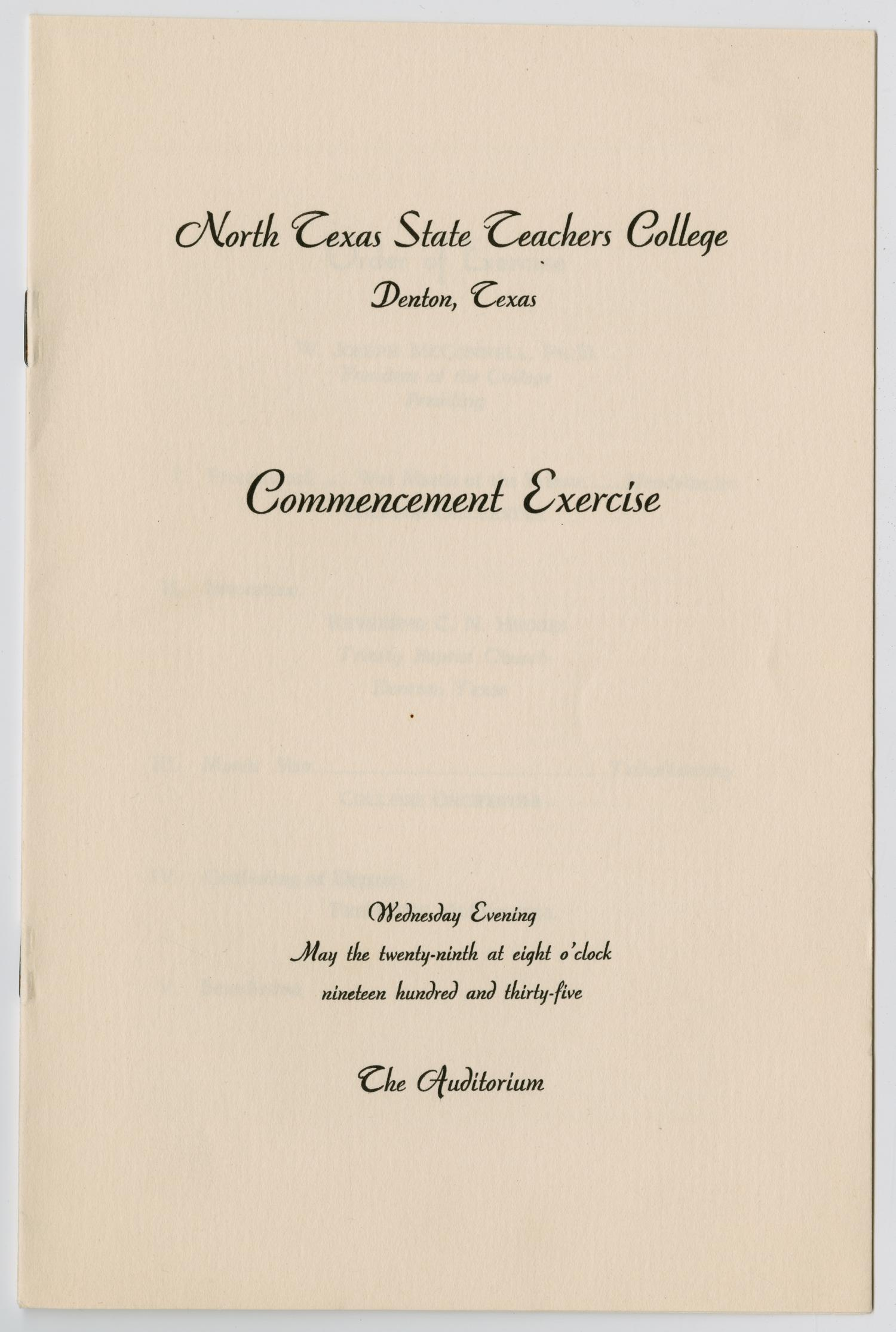 [Commencement Program for North Texas State Teachers College, May 29, 1935]                                                                                                      [Sequence #]: 1 of 5