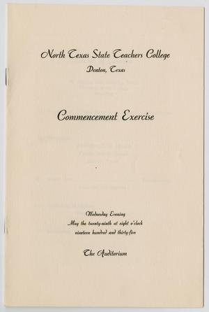 Primary view of object titled '[Commencement Program for North Texas State Teachers College, May 29, 1935]'.