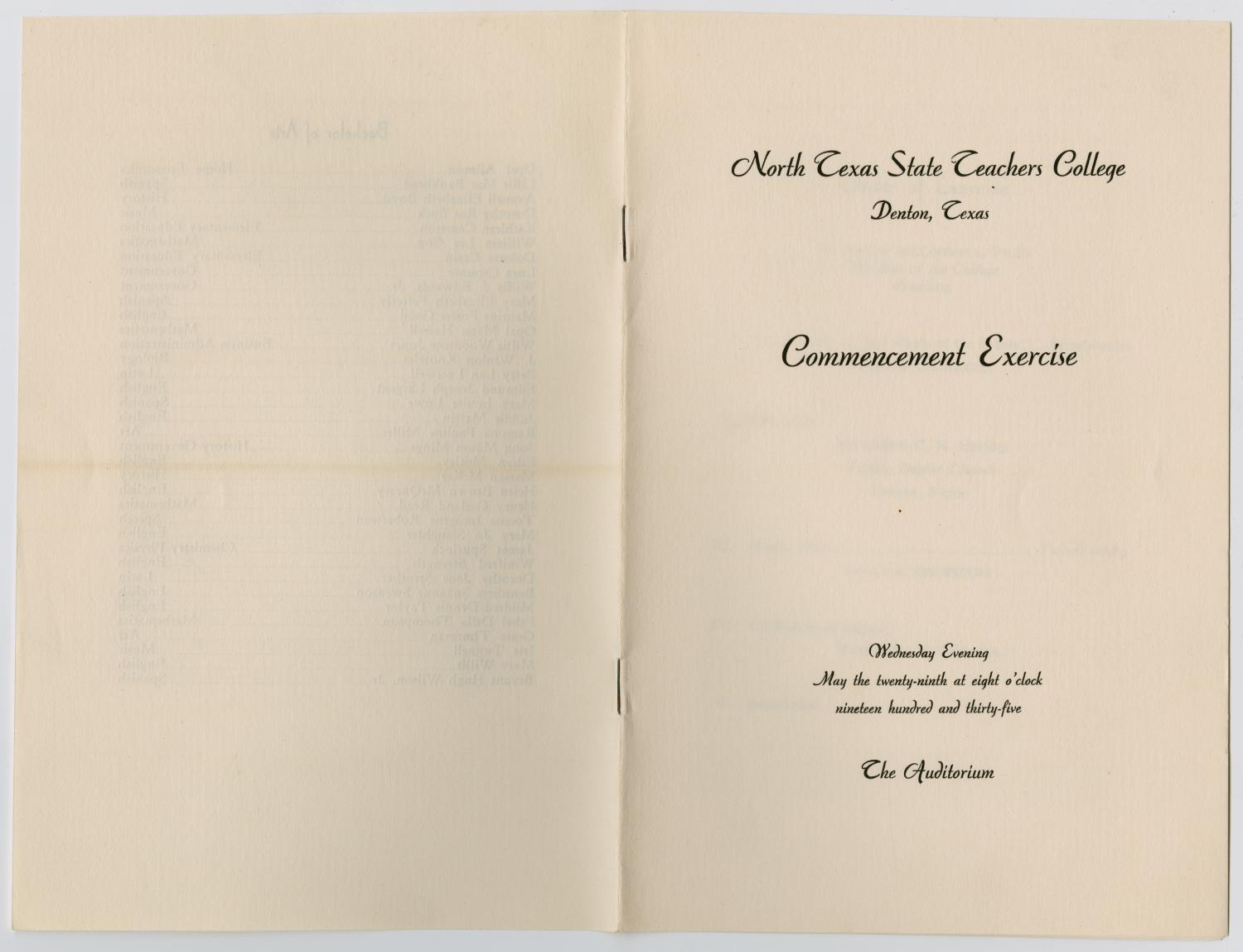 [Commencement Program for North Texas State Teachers College, May 29, 1935]                                                                                                      [Sequence #]: 5 of 5