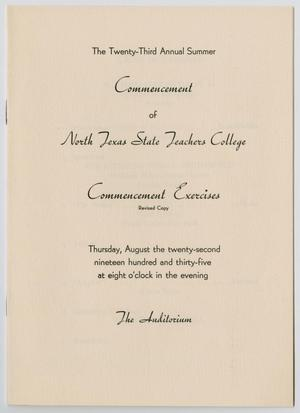 Primary view of object titled '[Revised Commencement Program for North Texas State Teachers College, August 22,1935]'.
