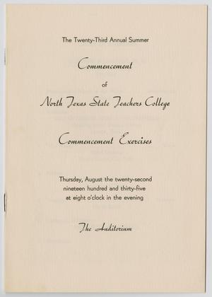 Primary view of object titled '[Commencement Program for North Texas State Teachers College, August 22, 1935]'.