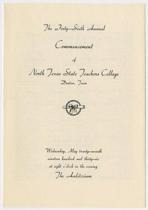 Primary view of object titled '[Commencement Program for North Texas State Teachers College, May 27, 1936]'.