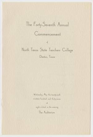 Primary view of object titled '[Commencement Program for North Texas State Teachers College, May 26, 1937]'.