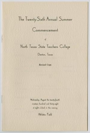 Primary view of object titled '[Revised Commencement Program for North Texas State Teachers College, August 24, 1938]'.
