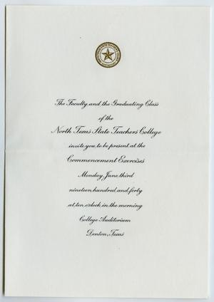 Primary view of object titled '[Commencement Invitation for North Texas State Teachers College, June 3, 1940]'.